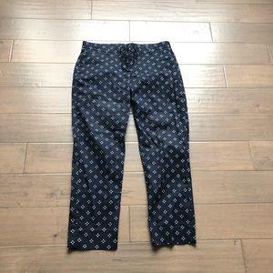 Gap Stretch Slim Crop Navy Printed Pants